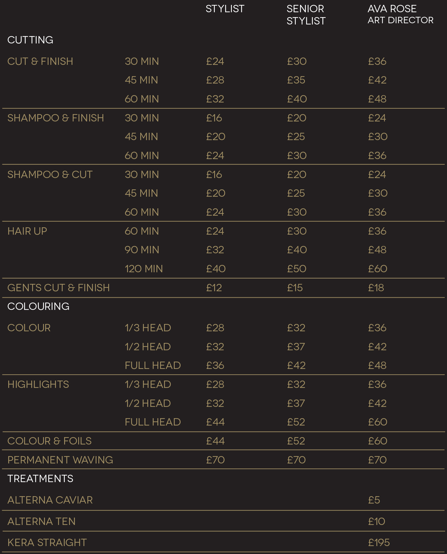 Ava rose hair salon at wrightington hotel country club wigan for Loreal salon price list